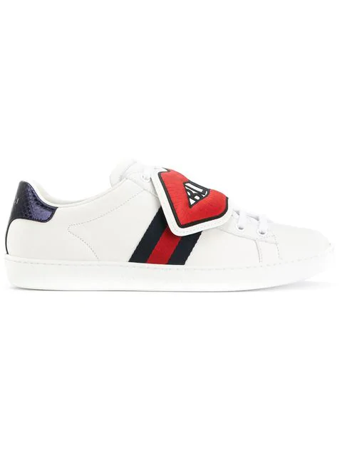 Gucci New Ace Blind For Love New Ace Sneakers, White/Red