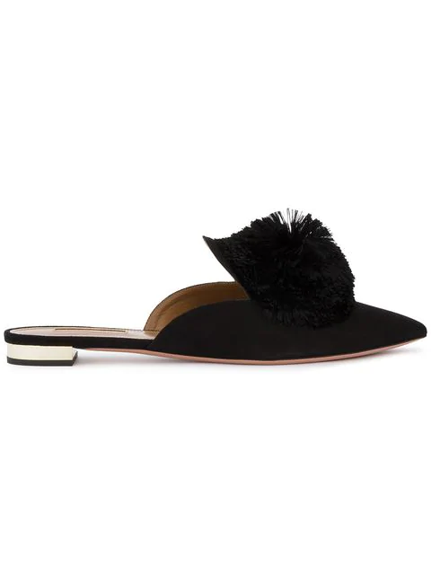 Aquazzura Powder Puff Pompom-Embellished Suede Slippers In Black
