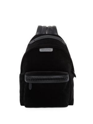 eedd3cd491f5 Stella Mccartney Falabella Medium Velvet   Faux Leather Backpack In Black