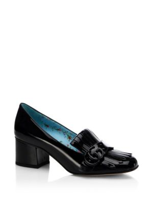 4596736bc7f Gucci Marmont Gg Patent Leather Loafer Pumps In Black