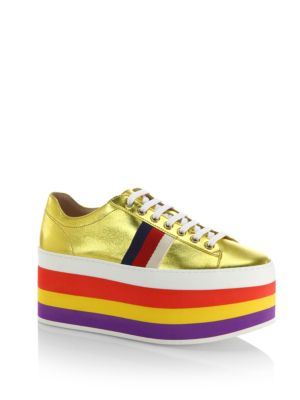 d103e184c5d8 Gucci Peggy Metallic Leather Rainbow Platform Sneakers In Gold ...