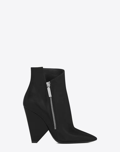 86b30c1d82b Black Leather Niki 105 Asymmetrical Ankle Boots