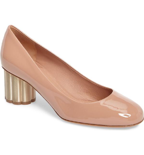 ba8690484ab2 SALVATORE FERRAGAMO. Women s Lucca Patent Leather Floral Heel Pumps ...