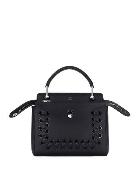 07a09a64ce24 Fendi Dotcom Click Whipstitch Leather Shoulder Bag In Black