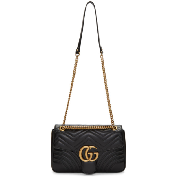 Gucci Women's Black Gg Marmont Medium Leather Shoulder Bag In 1000 Black
