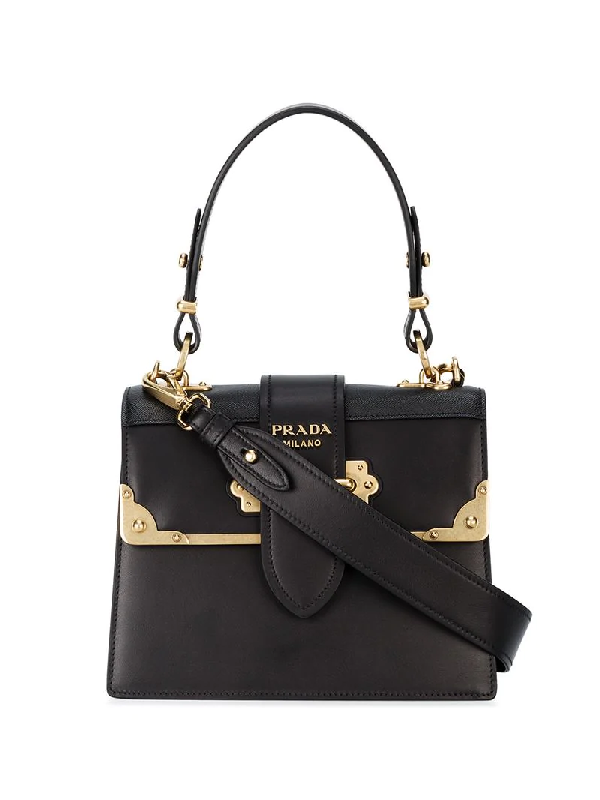 2076bfcb17ff86 Prada Cahier Medium Calf Leather Crossbody Bag In Black | ModeSens