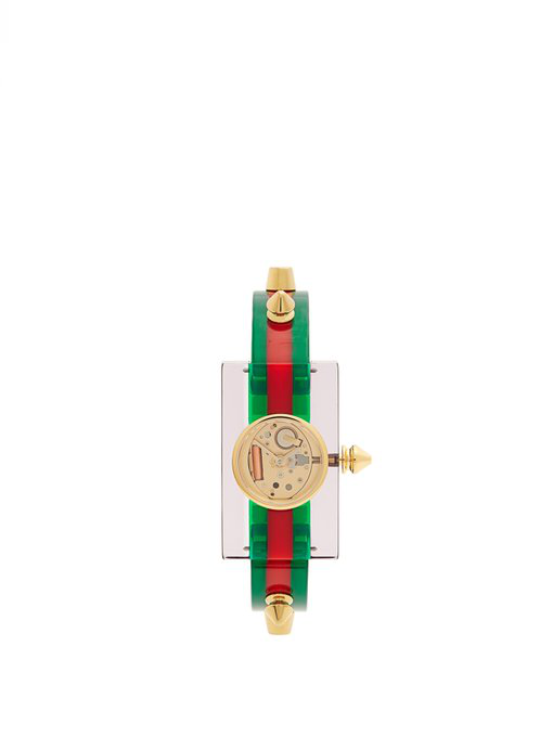 Gucci Plexiglass And Gold-tone Watch In Green