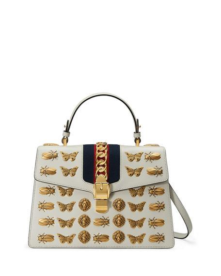 93736cd73205 Gucci Sylvie Medium Top-Handle Satchel Bag With Insect Embellishments In  White Pattern