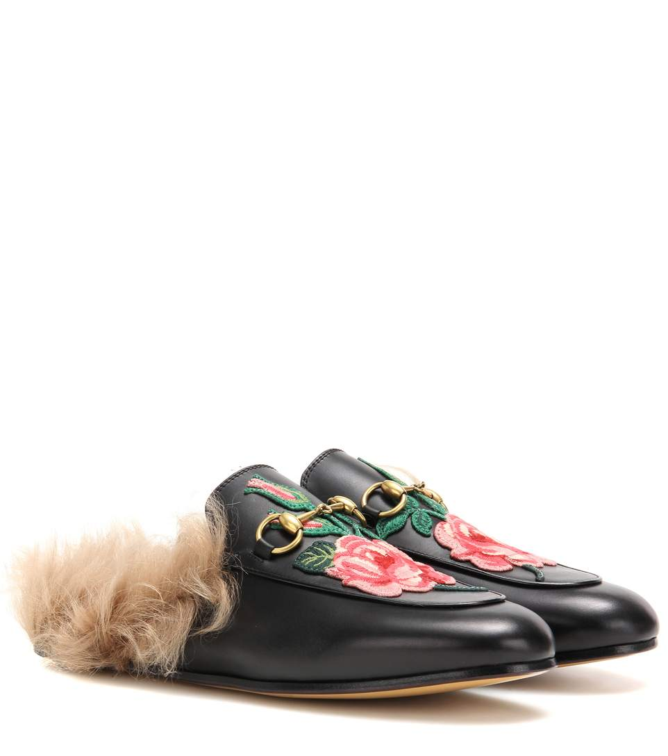 1cf35bd92ac Gucci Princetown Fur-Lined Leather Slippers In Black
