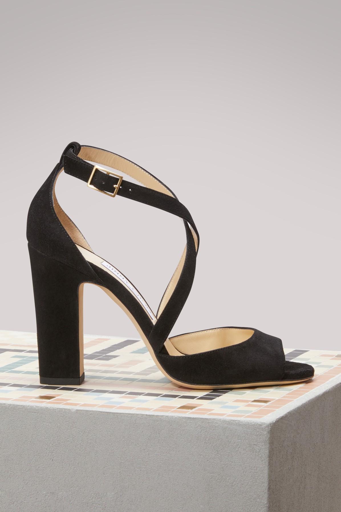 Jimmy Choo Carrie 100 Glitter Sandals In Black