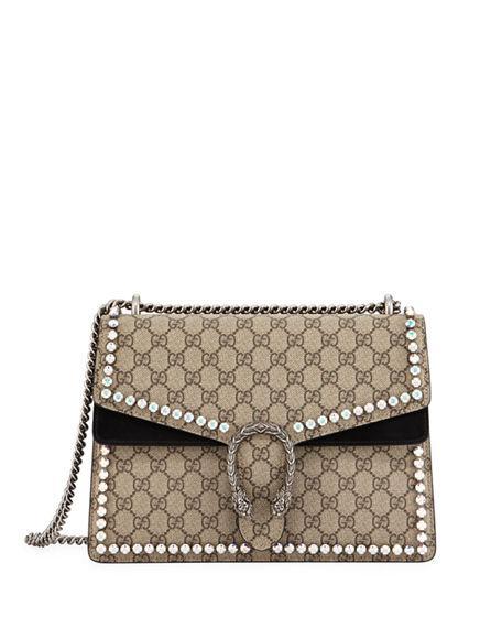 db4ba601c04 Gucci Medium Dionysus Crystal Embellished Gg Supreme Canvas   Suede Shoulder  Bag - Beige In Beige