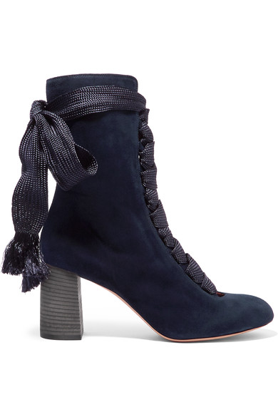 672d4345 Harper Lace-Up Suede Ankle Boots in Navy