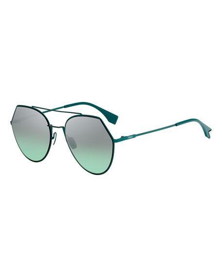 076499f7964 Fendi Eyeline Mitered Aviator Sunglasses In Green