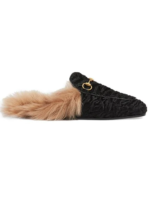 Gucci Princetown Lamb Fur Slippers In Black In 1097 Black