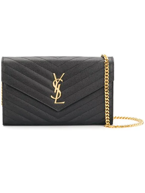 86e9fd95cc Saint Laurent Black Medium Quilted Monogram Envelope Chain Wallet Bag