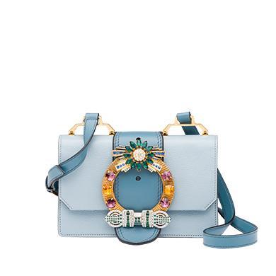 Miu Miu Miu Lady Madras Leather Shoulder Bag In Lake Blue