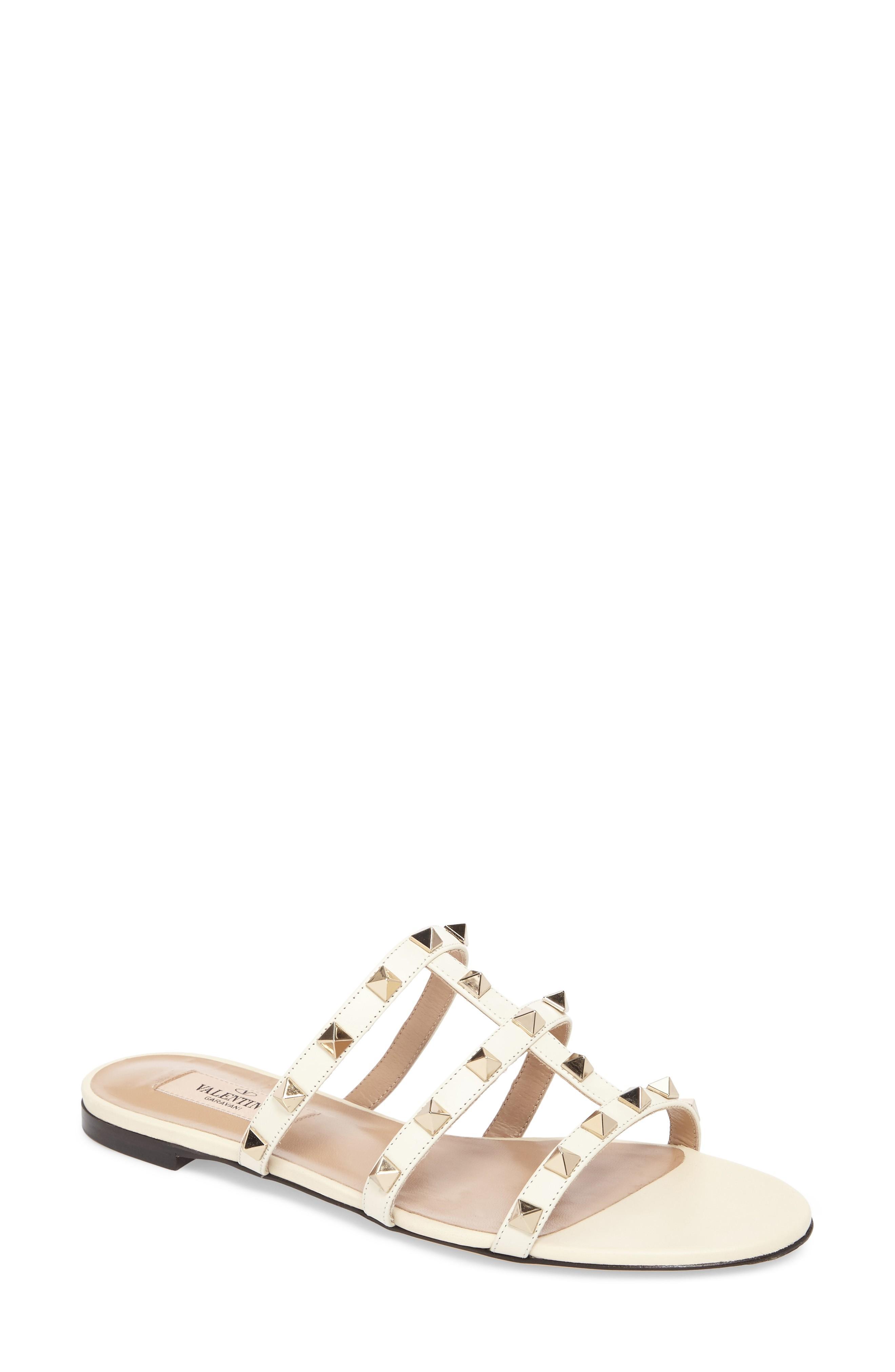 402072d1321 Valentino Rockstud Slide Sandal In Light Ivory
