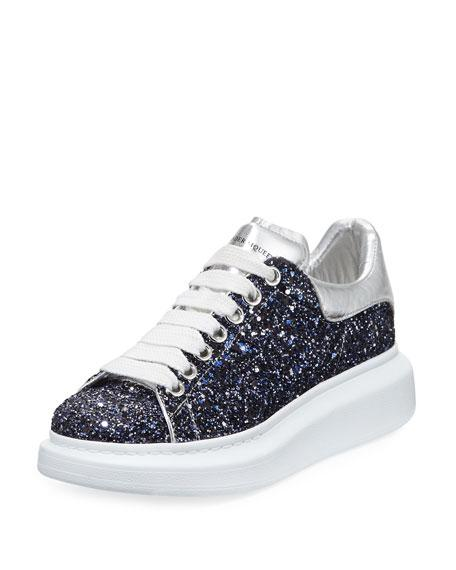 a116fb837198 Alexander Mcqueen Classic Mcqueen Glitter Low-Top Sneaker In Blue - Navy