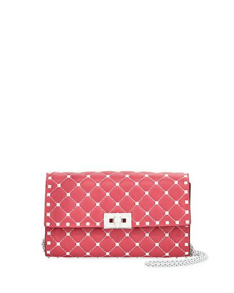 7134393ee9 Valentino Free Rockstud Spike Small Quilted Napa Leather Shoulder Bag In  Pink