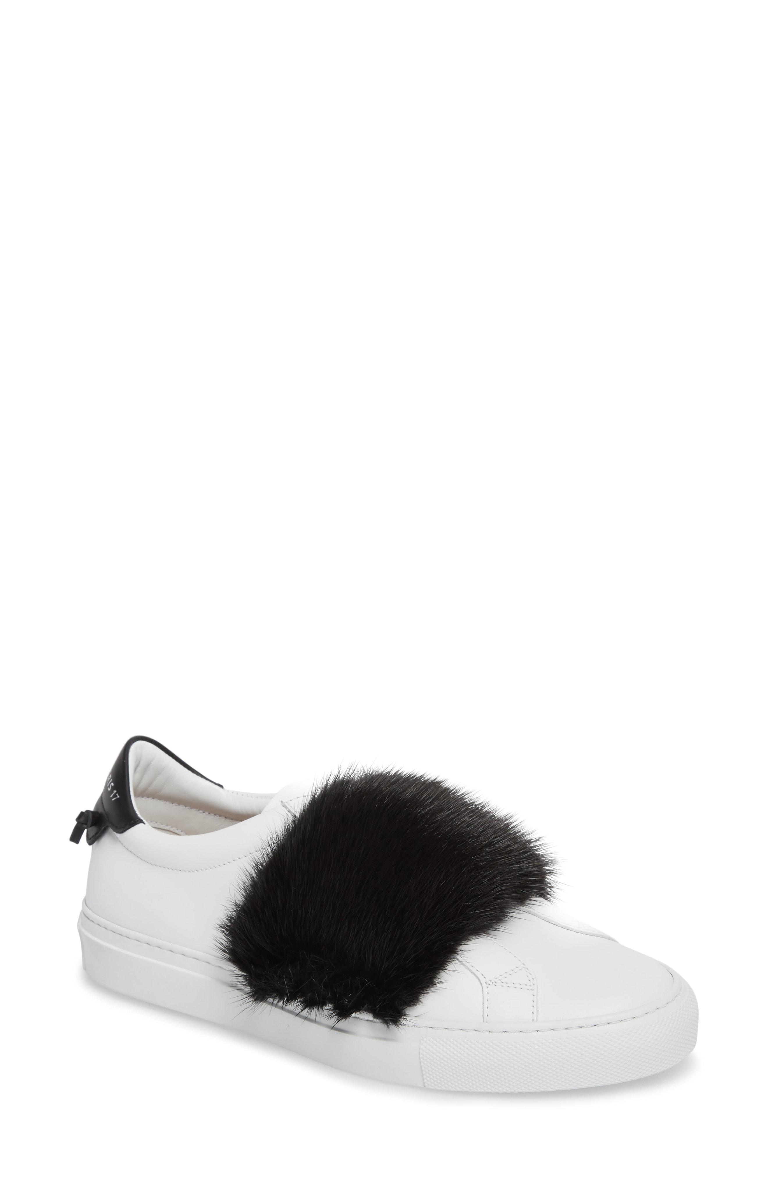 f6e4397ac0c4 Givenchy Urban Street Slip-On Sneaker With Genuine Mink Fur Trim In Black   White