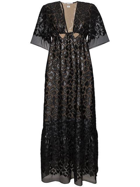 Stella Mccartney Animalier Leopard Sheer Silk Maxi Dress In Black