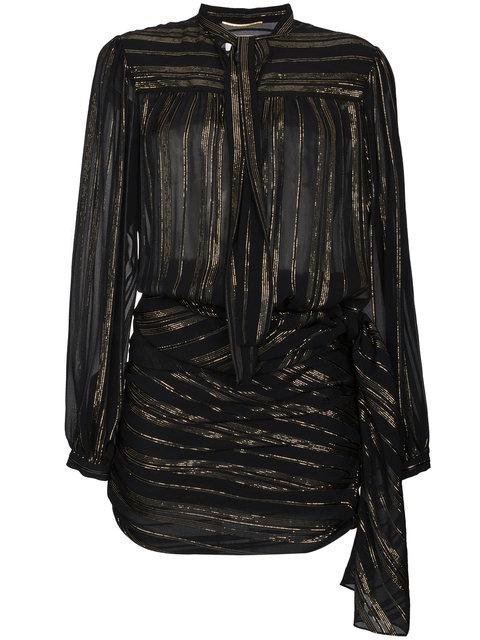 Saint Laurent Bow Detail Metallic Wrap Silk Mini Dress In Black