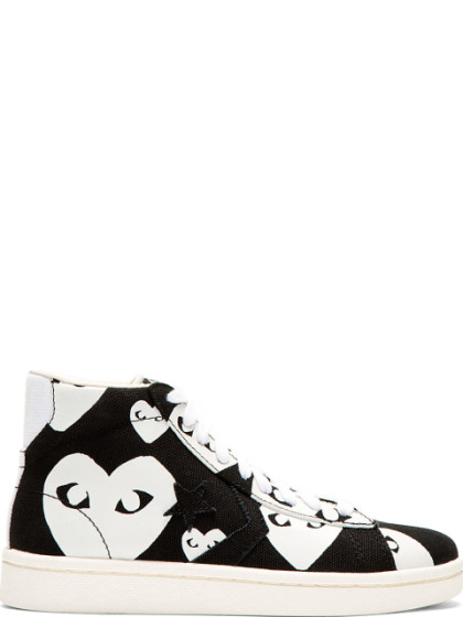 1060ae23a5c1 Comme Des GarÇOns Play Black   White Heart Print Converse Edition High-Top  Sneakers