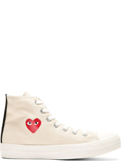 d19343234fda Comme Des GarÇOns Play Cream Heart Logo Converse Edition High-Top Sneakers  In White