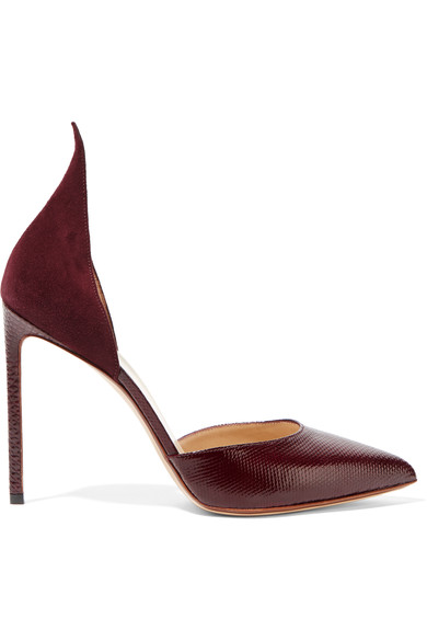 Francesco Russo Snakeskin And Suede Point-toe Pumps In Burgundy