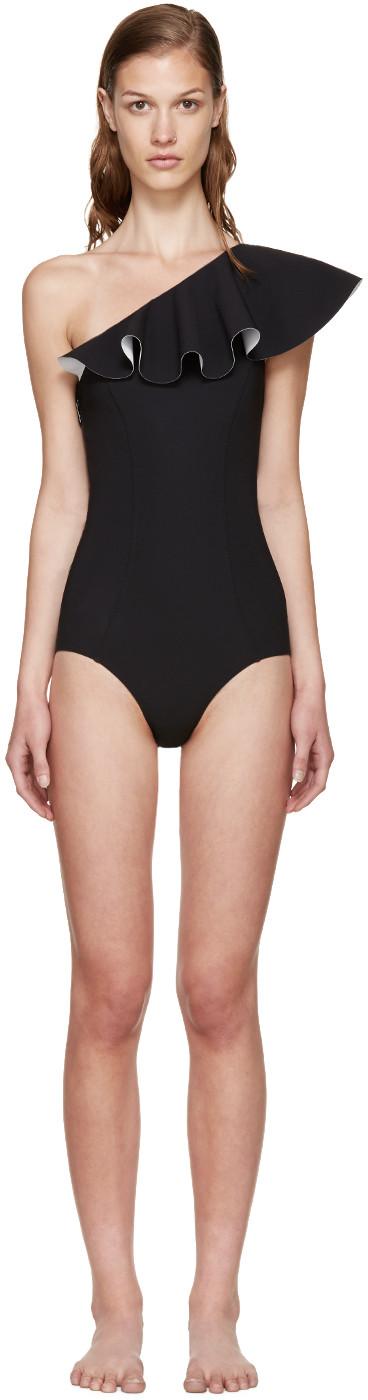 Lisa Marie Fernandez + Net Sustain Arden One-shoulder Ruffled Swimsuit In Black