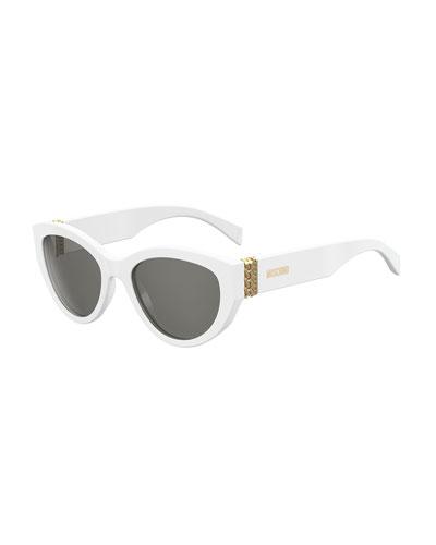Moschino Round Acetate Sunglasses W/ Chain Temples In Multi Pattern