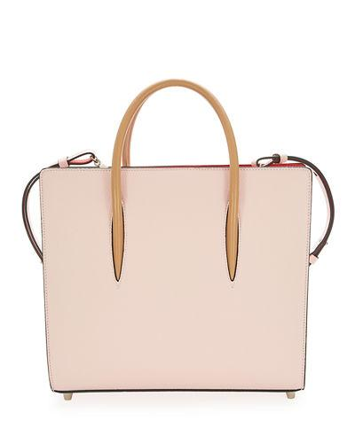 Christian Louboutin Paloma Medium Spike Leather Tote Bag In Pink Pattern
