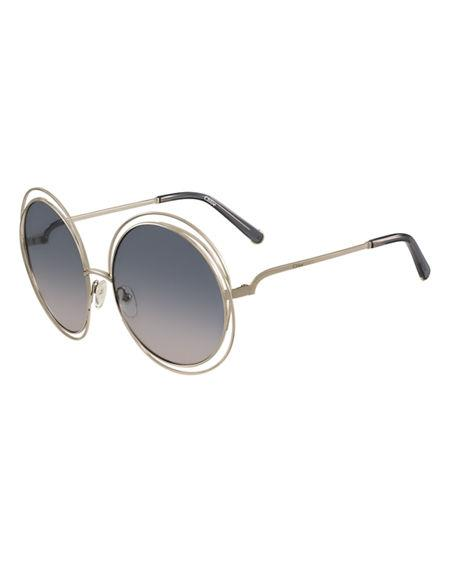 f9829d1816 ChloÉ Carlina Chain-Frame Oversized Round Sunglasses In Dark Green ...