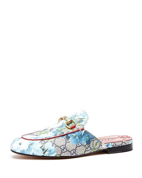 bb6a73142f4 Gucci Princetown Floral Logo Mule Slipper In Blue