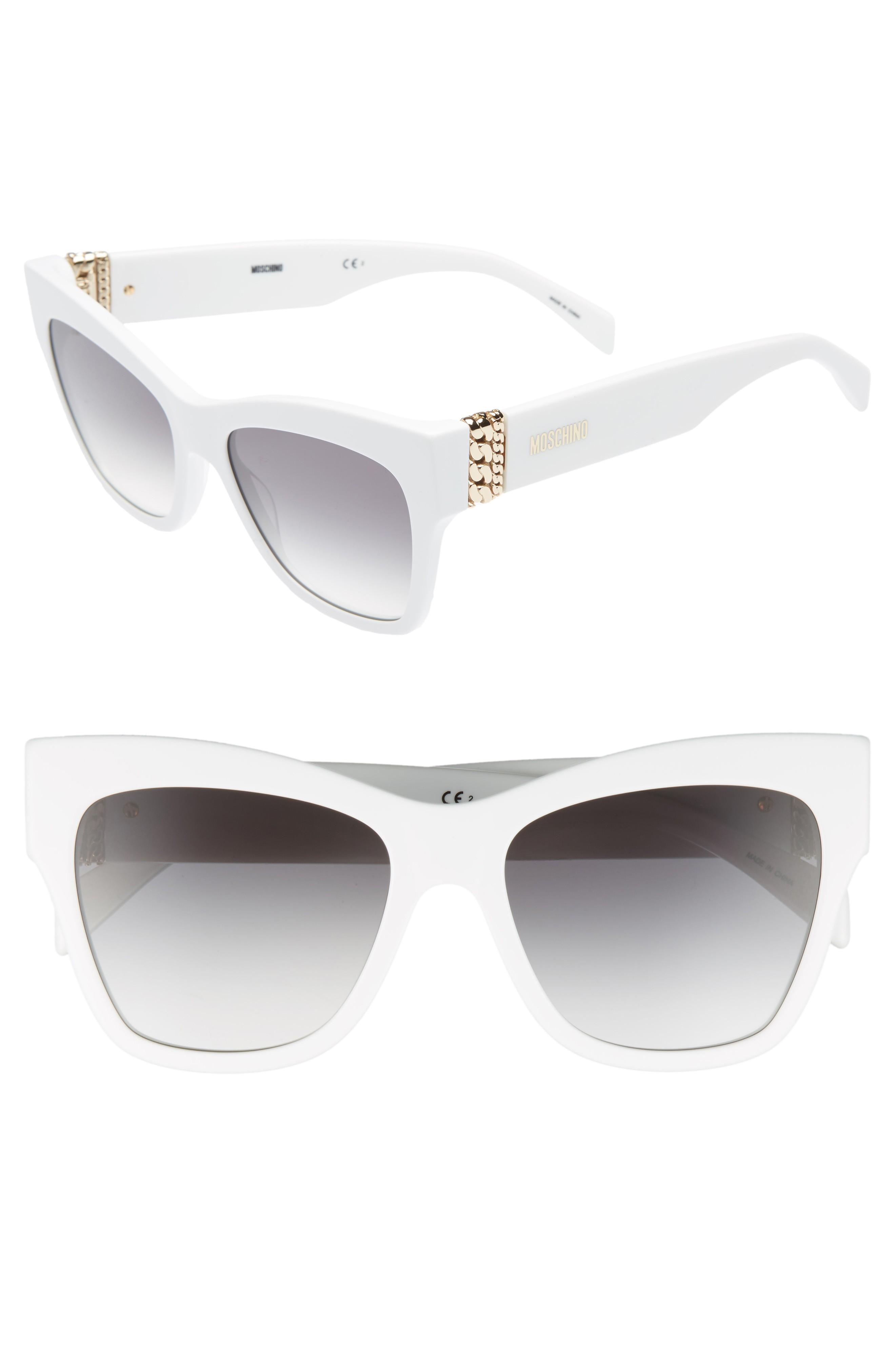 951477b052a8 A bold cat s eye silhouette plays up the retro glamour of svelte sunnies  agleam at the temples with polished chain-link detailing. Style Name   Moschino 53Mm ...