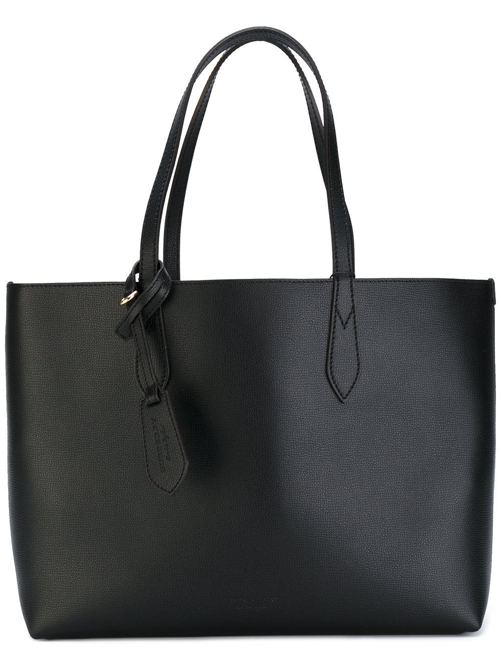 Burberry The Medium Reversible Tote In Haymarket Check And Leather In Black