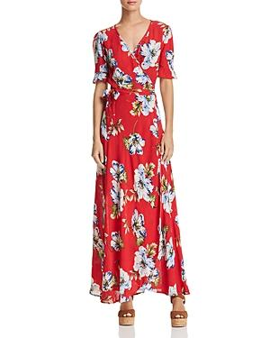 Band Of Gypsies Blue Moon Floral Print Wrap Dress In Red/ Sky