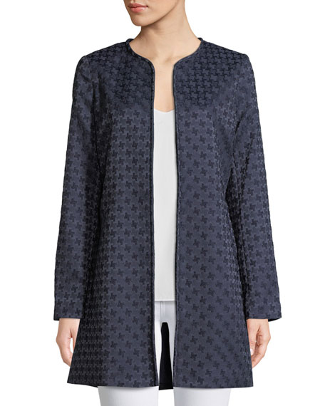 Karl Lagerfeld Open-front Jacquard Topper Jacket In Navy