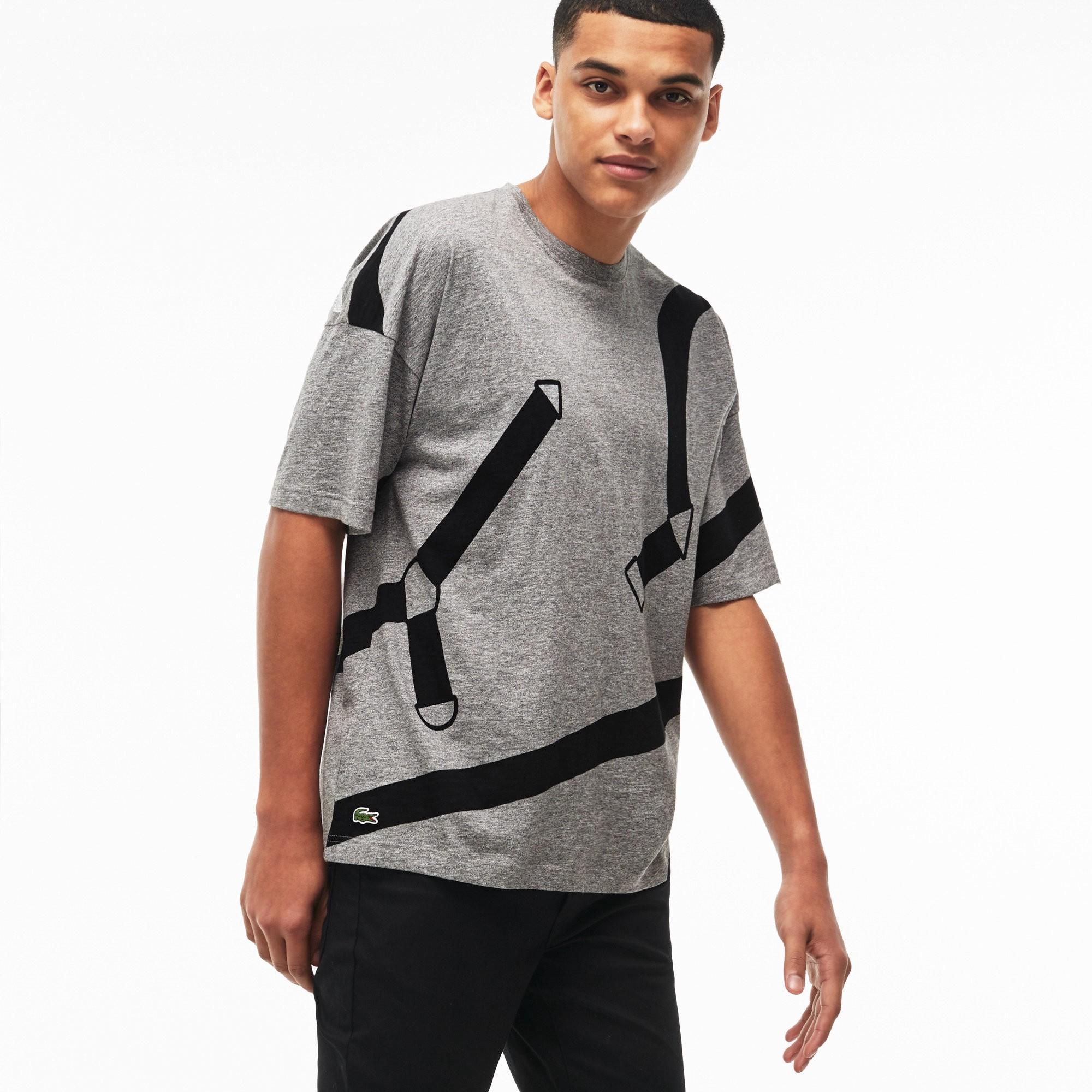 408416c092 Men's Live Crew Neck Graphic Print Cotton Jersey T-Shirt in Grey / Black