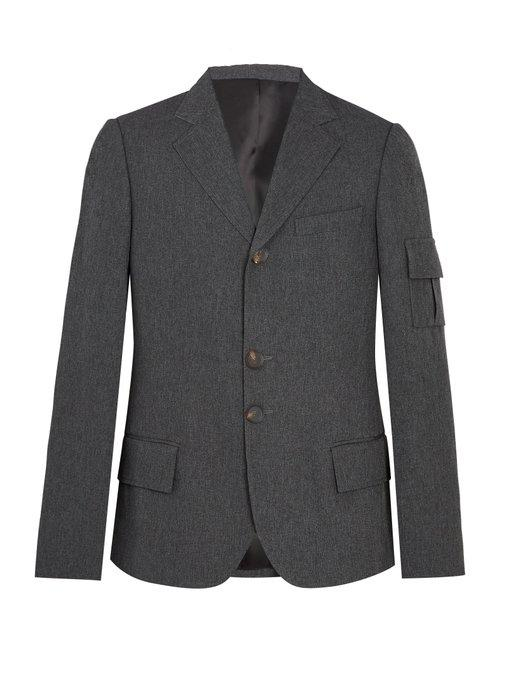 Wales Bonner Single Breasted Patch Pocket Woven Blazer In Grey