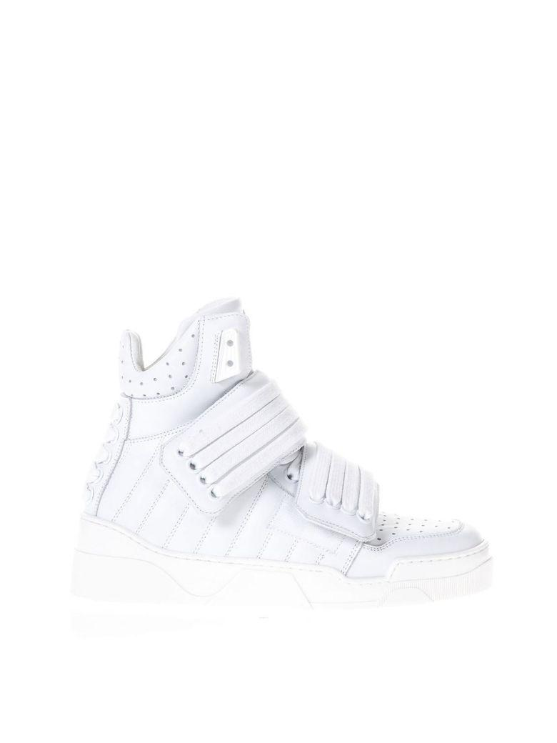 Les Hommes White Laced Sneakers In Leather