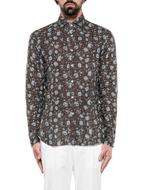 Xacus Brown/light Blue Linen Shirt