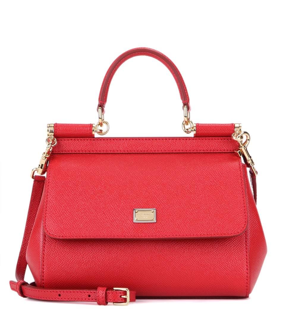 Dolce & Gabbana Jeans Dauphine Leather Shoulder Bag, Red