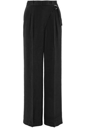 T By Alexander Wang Pleated Silk Crepe De Chine Wide-leg Pants In Black