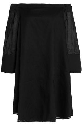 Halston Heritage Woman Off-The-Shoulder Cotton-Gauze Mini Dress Black