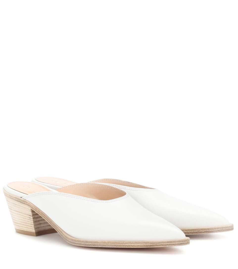 e8c2e33358 Gianvito Rossi Leather Block-Heel Mules In White | ModeSens