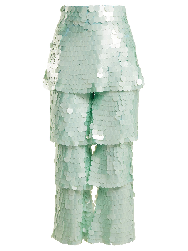 Osman Felix Tiered Sequin-embellished Trousers In Mint-green