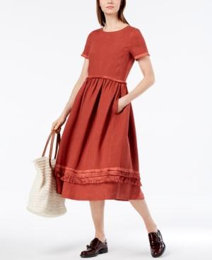 280c1189ffa Weekend Max Mara Val Linen Fringe-Trim Midi Dress In Rust | ModeSens