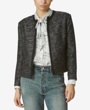 Avec Les Filles Raw-Edge Tweed Jacket In Black Multi (Dk Tweed)