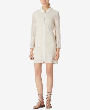 Avec Les Filles Collared Lace Mini Shirtdress In Off White